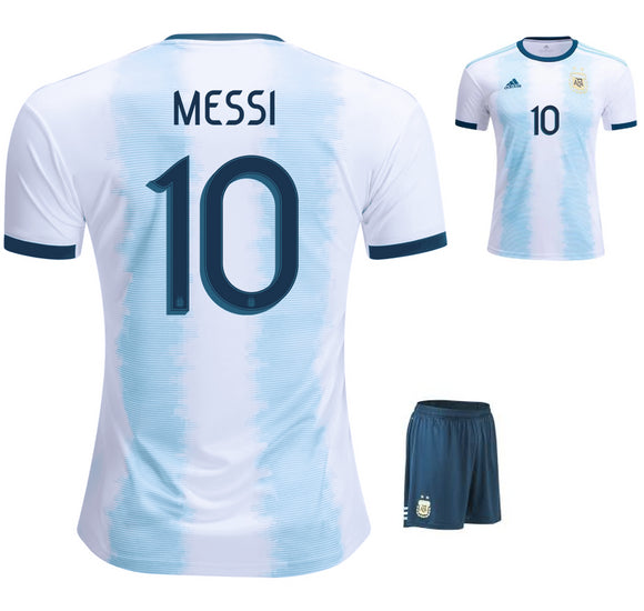 Original Messi Argentina International Premium Home Jersey & Shorts [Optional] 2019
