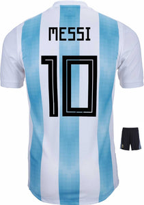 b585c889848 Messi Argentina Home Jersey   Shorts FIFA World Cup 2018 (Orignal Font)