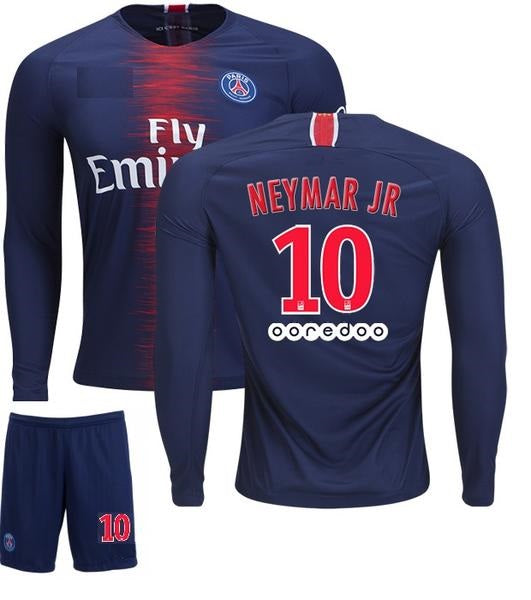 Original Neymar PSG Full Sleeve Premium Home Jersey & Shorts [Optional] 2018-19