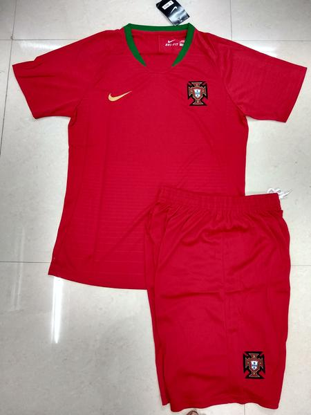 6d82bf07c72 ... Ronaldo Portugal Home Football Jersey   Shorts FIFA World Cup 2018  (Brand Logo available)