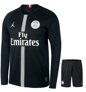 Original Jordan X Black PSG Full Sleeve Premium Jersey & Shorts [Optional] 2018-19