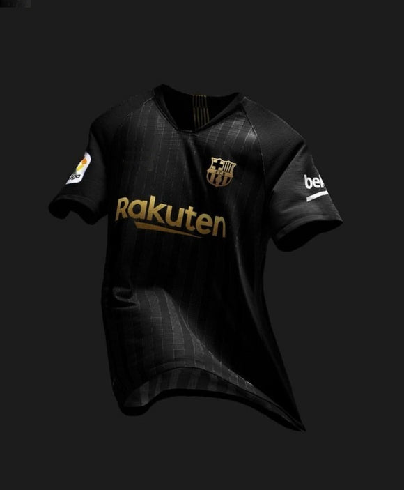 Rare Original Barcelona Black and Golden Premium Jersey & Shorts 2018-19