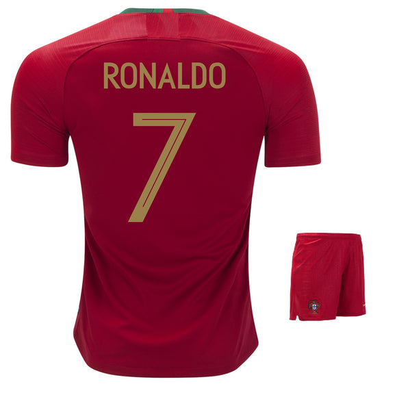 Ronaldo Portugal Home Football Jersey & Shorts FIFA World Cup 2018 (Brand Logo available)