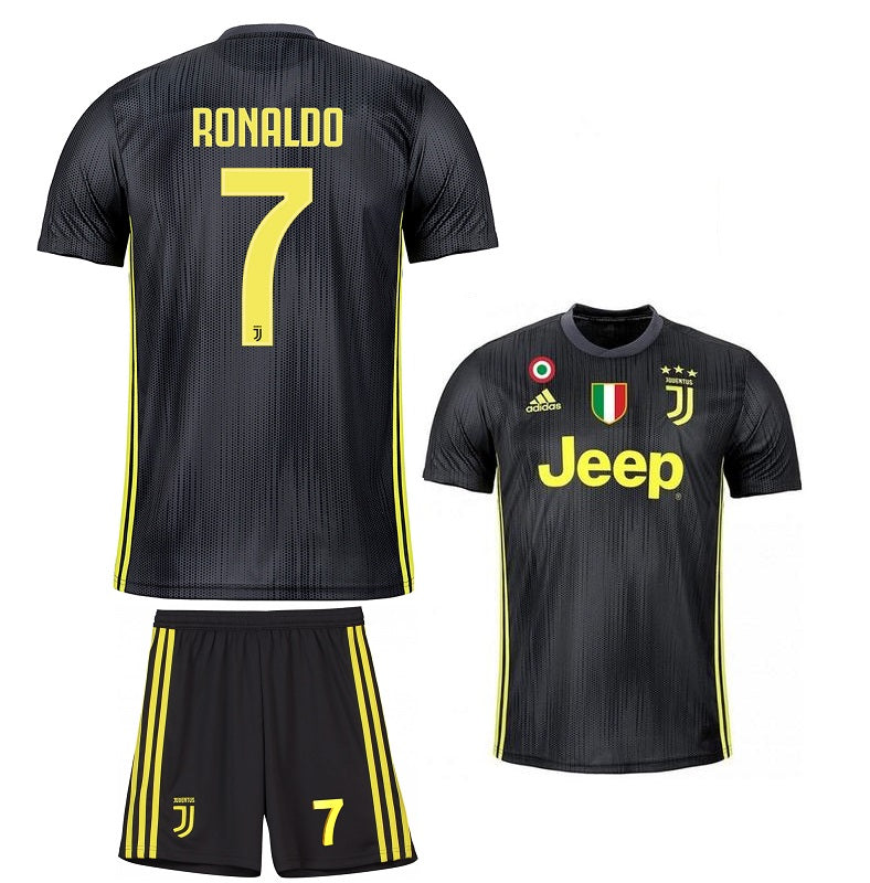 big sale c59b2 8ed10 Original Ronaldo Juventus Premium 3rd Jersey & Shorts [Optional]  2018-19(with Italia & SerieA logos)