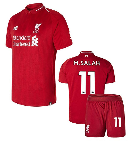 Original Mo Salah Liverpool Premium Home Jersey & Shorts [Optional] 2018-19