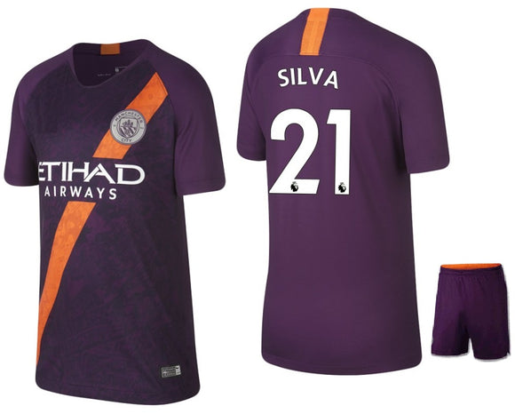 Original Silva Manchester City Premium 3rd Jersey & Shorts [Optional] 2018-19