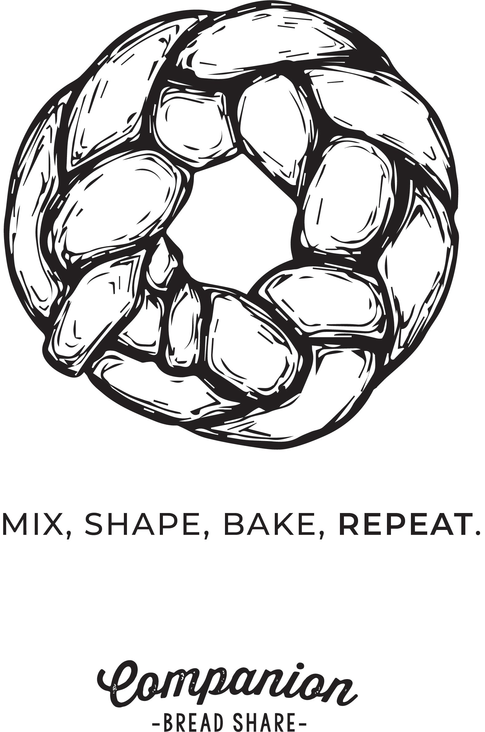 "Sample of tote design featuring a braided round of bread and the words ""Mix, Shape, Bake, Repeat."""