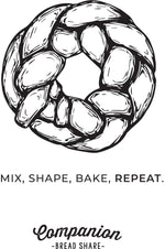 "Load image into Gallery viewer, Sample of tote design featuring a braided round of bread and the words ""Mix, Shape, Bake, Repeat."""