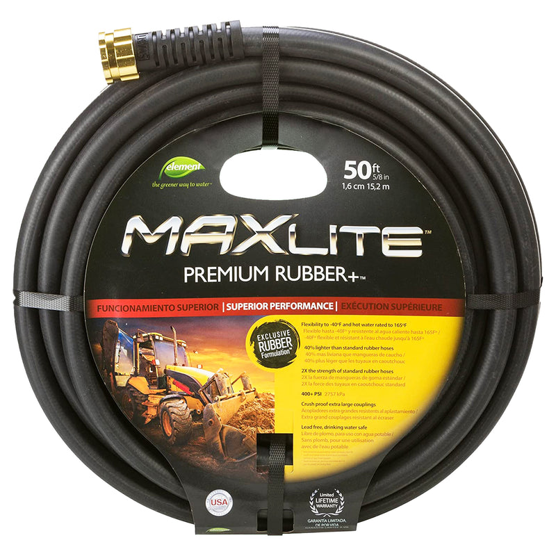 "Element | MaxLite Premium Rubber + Water hose w/ Crush Proof Coupling | 50 Ft. 5/8"" inch Black"