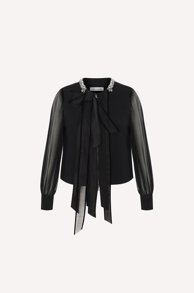 Sheer Tie-Neck Evening Jacket