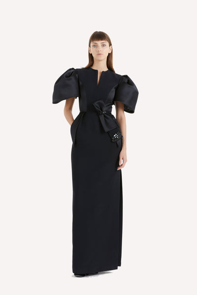 Signature Puffy Sleeved Evening Dress