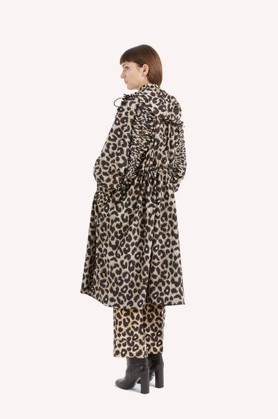Ruffled Raglan Leopard Raincoat