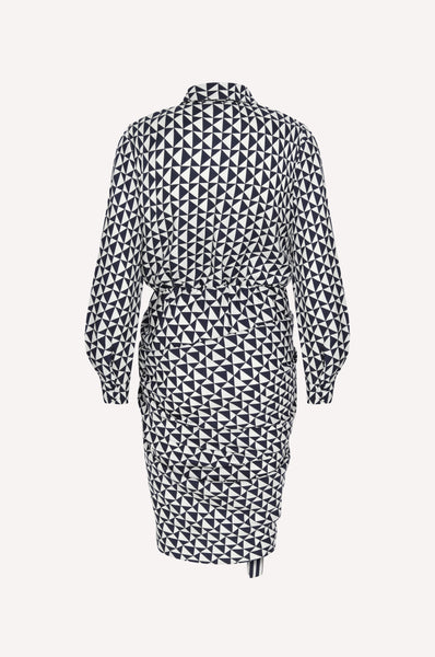 Asymmetric Monogram Print Shirt Dress