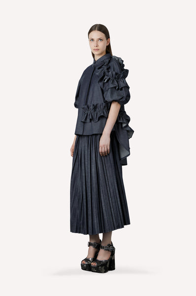 Heavy Denim Pleated Skirt