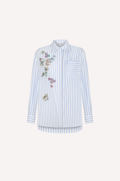 Multi-Colour Crystal Flowers Striped Shirt