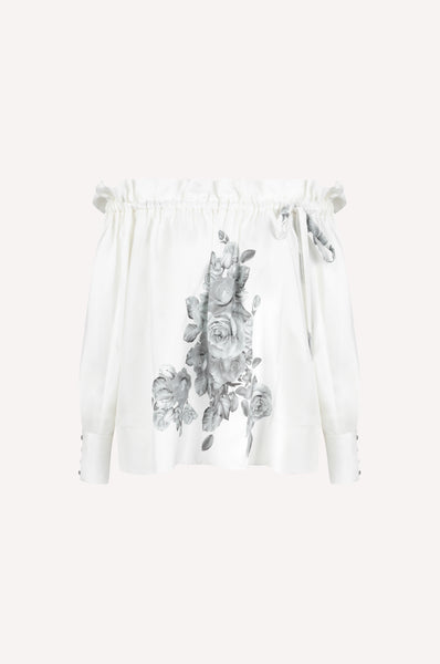 Off-the-Shoulder Monochrome Roses Blouse