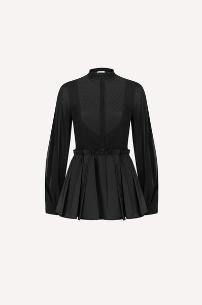 Pleated Peplum Silk Shirt