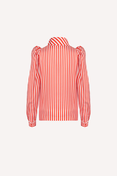 Pleated Sleeve Striped Shirt