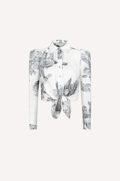 Tie-Front Monochrome Roses Shirt