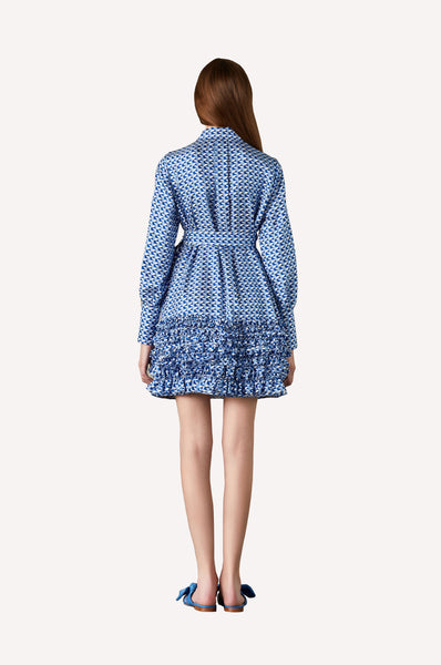 Bleu-de-Bleu Ruffled Shirt Dress