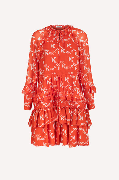 Ruffled Monogram Trapeze Dress