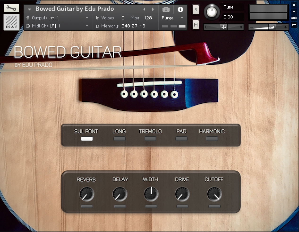 Bowed Guitar by Edu Prado - user interface screenshot