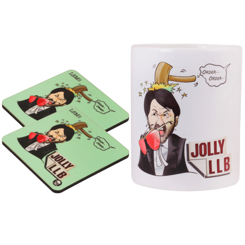 Combo Of Jolly LLB Mug & 2 Coasters