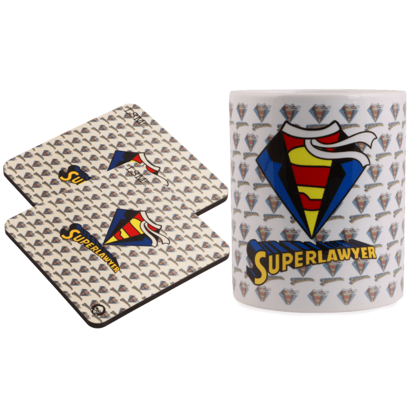 Combo Of Super Lawyer Mug & 2 Coasters