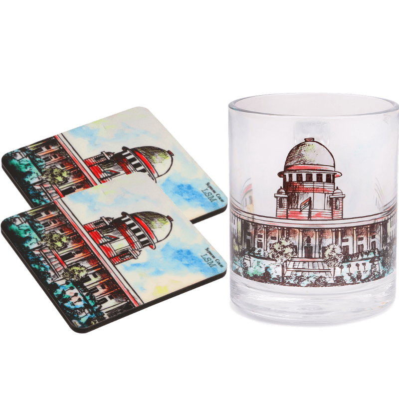 Supreme Court Glass Mug & Coaster Set