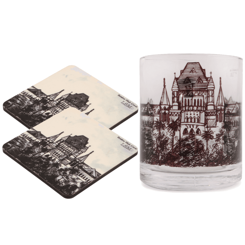 Combo Of Bombay High Court Mug & 2 Coasters - B/W