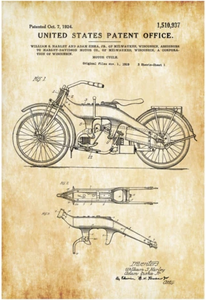 Patent Print of the Harley Davidson