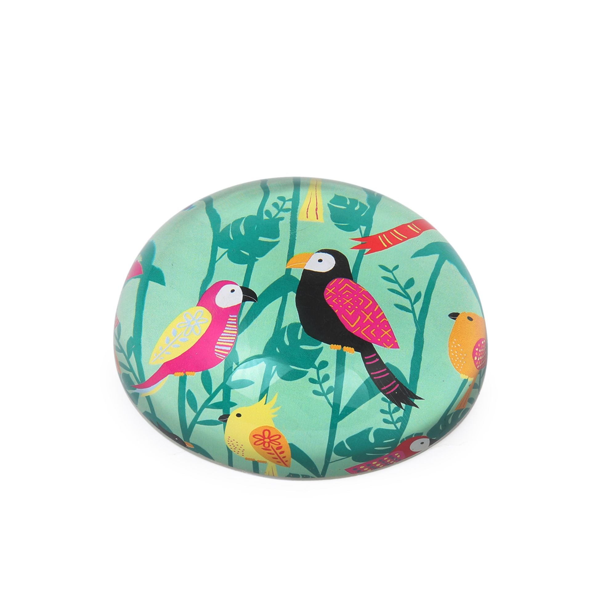 Tropical Birds Paperweight, Quirk Office Accessory, Resin Paperweight
