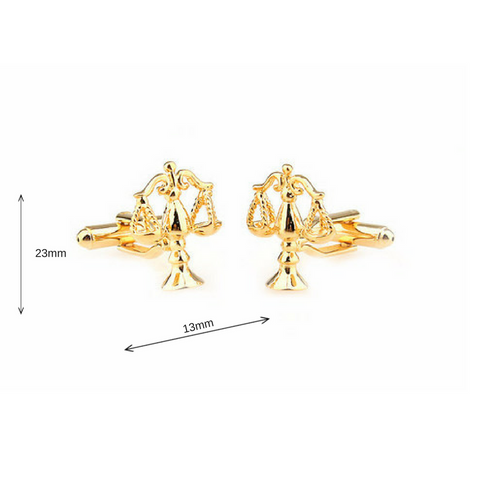 Scale of Justice Cufflinks golden - Law Suits and More