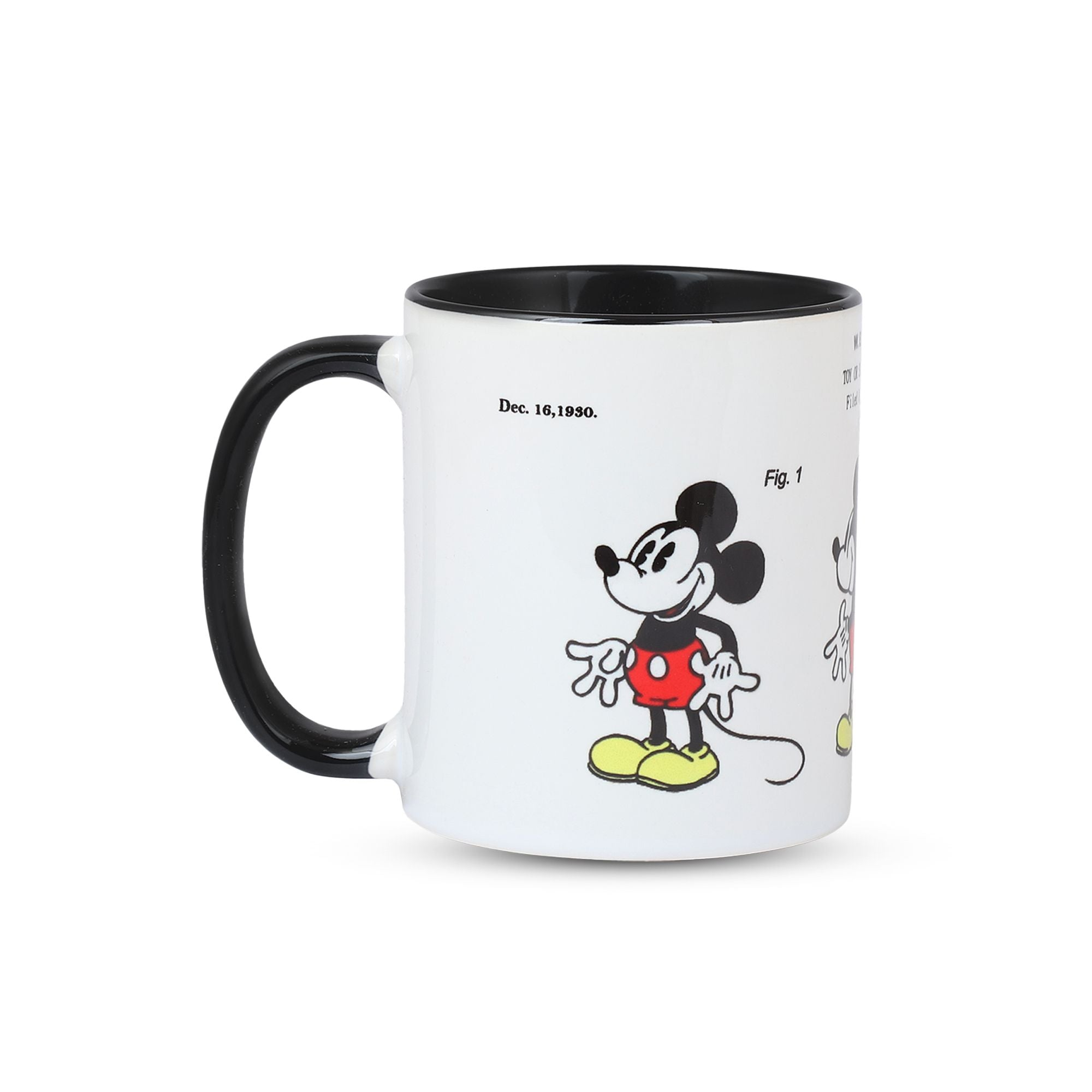 Black Handle Black Inside Mickey Mouse Patent Mug in Colour