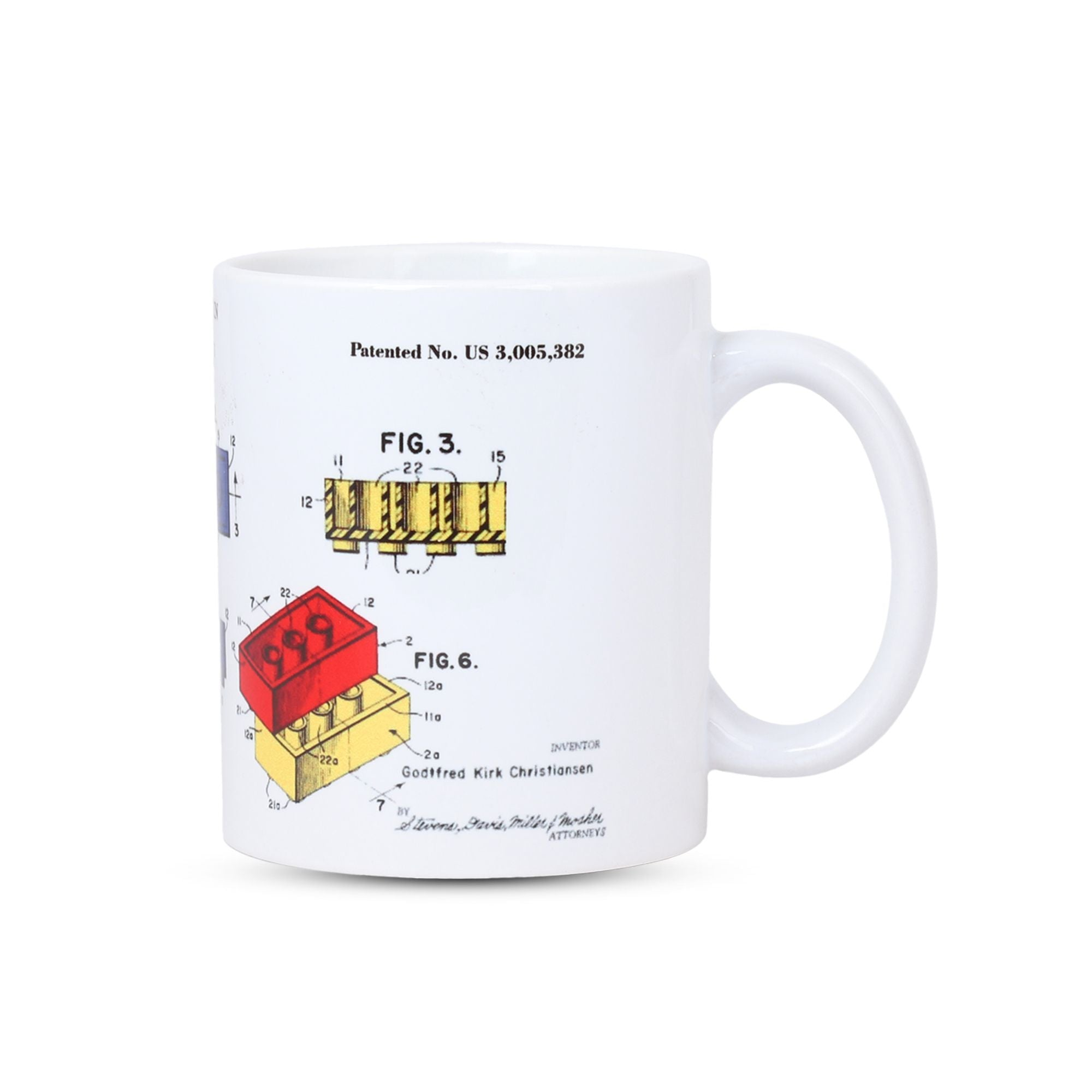 Side View of Lego U.S.Patent Reworked Mug, Patent Mug, I.P.Lawyers