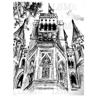 Print of the Bombay High Court (Perspective Shot) - B&W