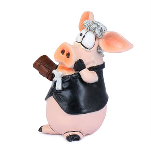 Side View of Lawyer Piggy, Advocate Band and Book