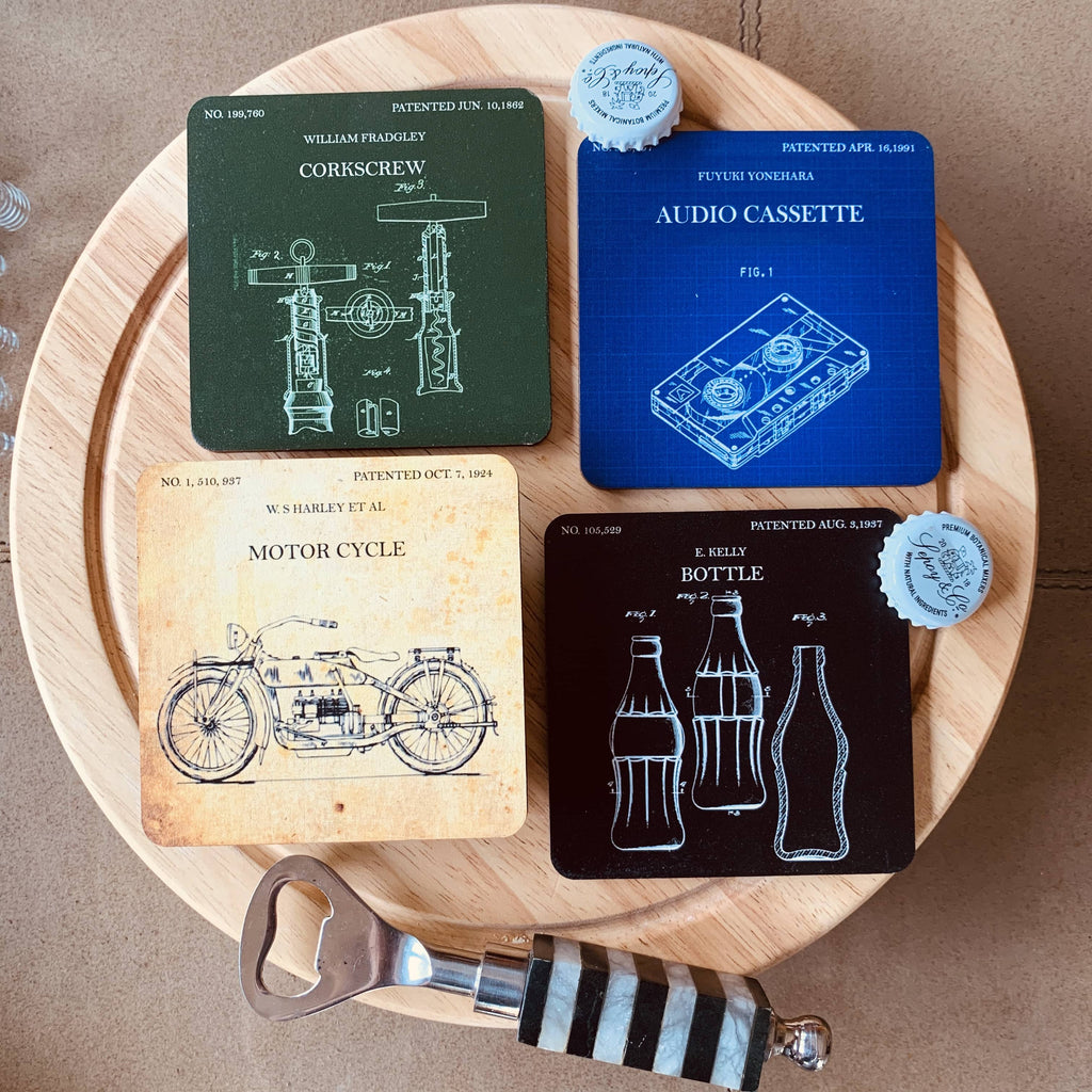 Patent Coasters Set of 4
