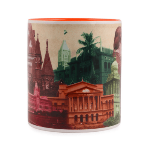 Mug - Multi Coloured Courts - Orange inside