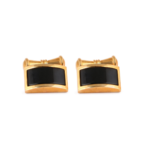 Vintage, Gold, Black, Chain link, Cufflinks