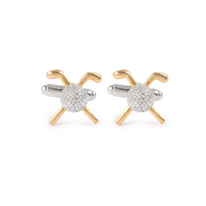 Golfer Cufflinks with Gold Clubs and Silver Golf Ball