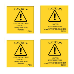 Set Of 4 Coasters Yellow & Black, Caution! Lawyer Under Pressure