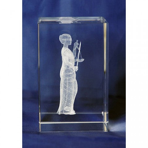 Lady of Justice -  Glass Paperweight - Law Suits and More