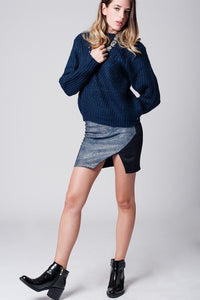 Blue Mini Skirt With Wrap Front