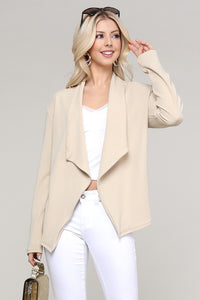 Open Blazer Solid Drape Jacket