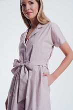 Load image into Gallery viewer, Pink Shirt Style Dress With Belt and Short Sleeve