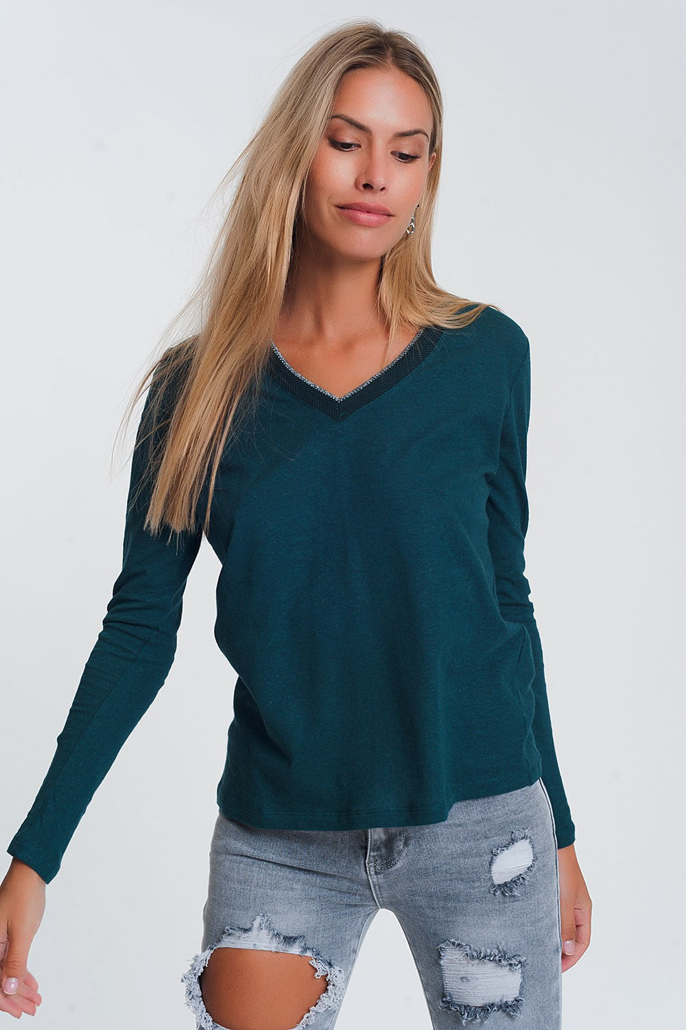 Lightweight Glitter V-Neck Jumper Teal