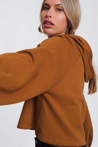 Crop Hoodie With V-Neck Camel