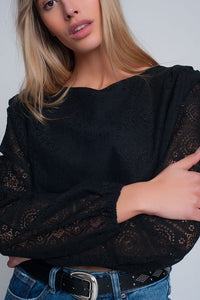 Waist Top With Shoulder Pads Black