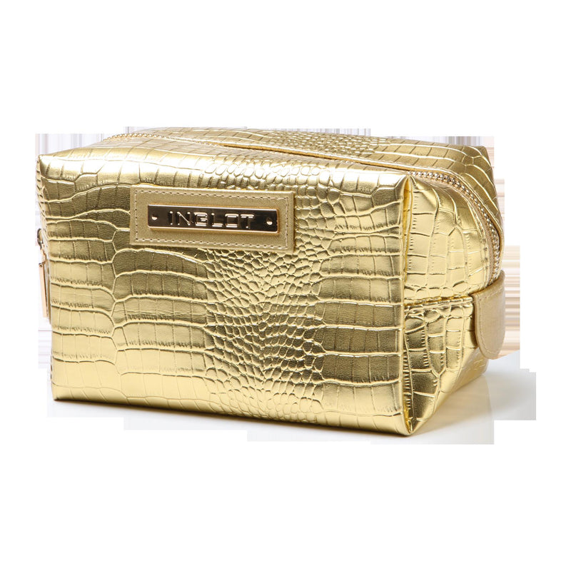 Cosmetic Bag Crocodile Leather Pattern Gold (R24245)